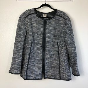 Anne Klein Tweed Jacket with Faux Leather Trim